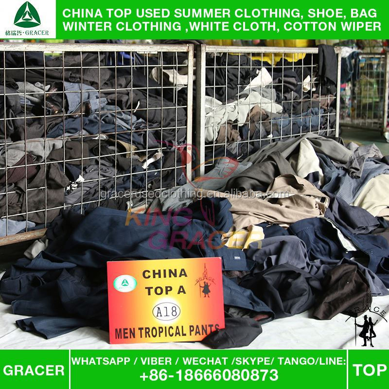 For Europe style Cheapest Baled Clothing Men Suit Pants used clothing lots