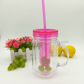 20oz BPA free double wall plastic mason jar with Fruit infuser