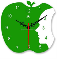 apple shape acrylic office wall clock manufacturer