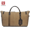 Custom high quality canvas travel tote Duffel Bag with leather handle and shoulder strap
