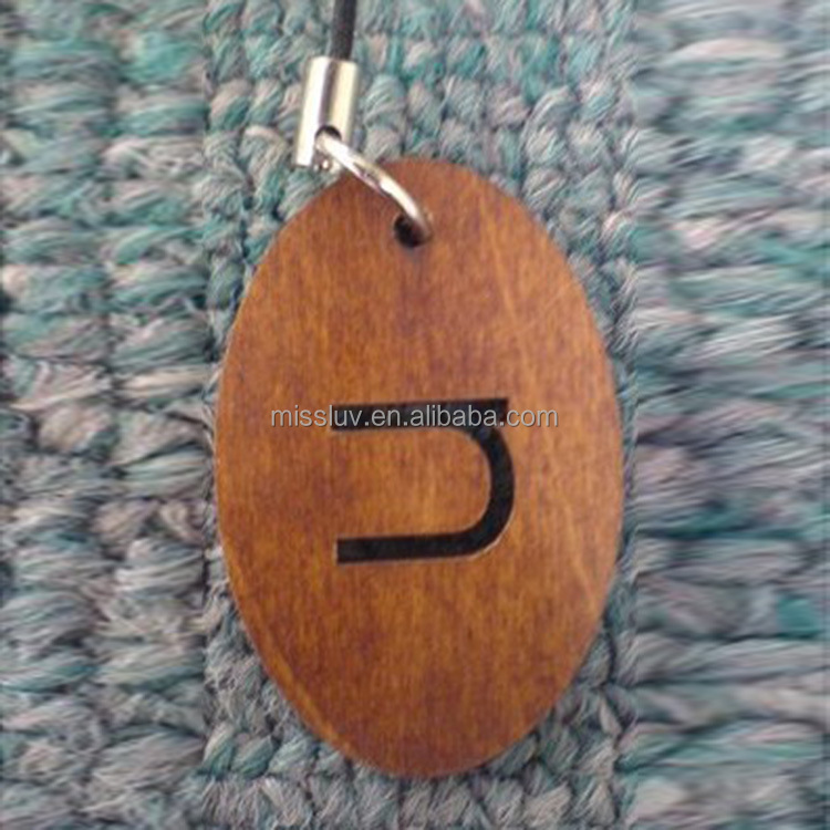 Custom initial letters logo stamped garment wood hang tags for clothing for clothing