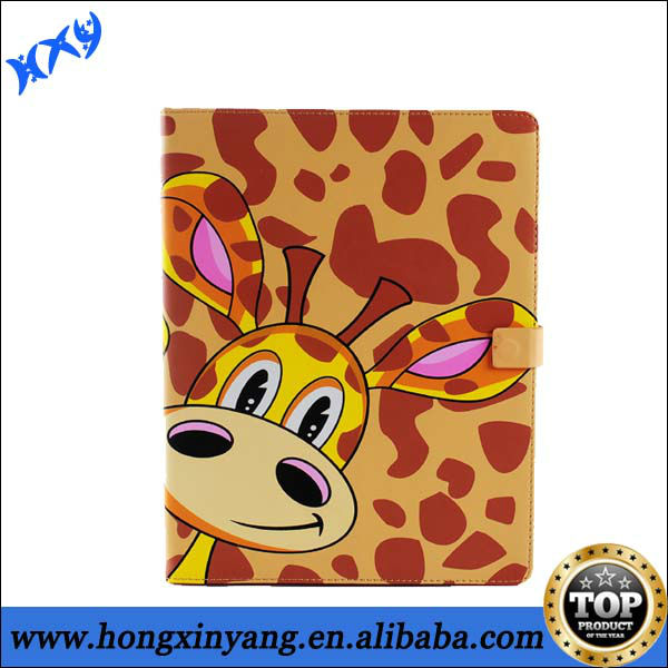 stand up leather case for apple ipad with lovely animal style