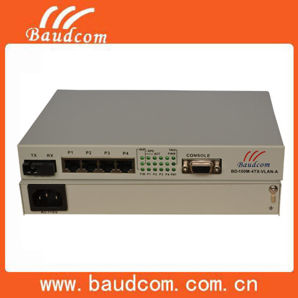 4 ports VLAN100M ethernet fiber media converter