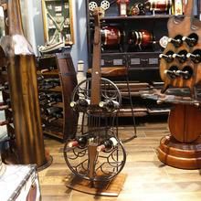 European Style 4 Bottle Cello Guitar Violin Shape Iron Wine Display Rack Storage Cabinet