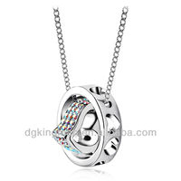 Factory Price Jewelry 2013 New Fashion Colorful Diamond Heart Circle Hollow Necklace