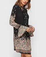 Fashion Style Long Flare Sleeve Casual A Line Dress