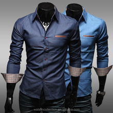 New Luxury Mens Long Sleeve Casual Stylish Dress Shirts Slim Fit 2 Colors shirts for men