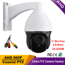 "Outdoor CCTV Security AHD 960P 1500TVL 3"" Mini Speed Dome PTZ Camera 3X ZOOM 2.8-8mm Lens IR40M Auto Focus PanTilt Rotate Camera"