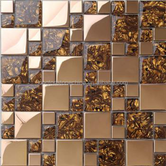 Amber Colour Crystal Glass Mosaic Backsplash Tile Mix Stainless Steel Metal Golden Select Mosaic Wall Tile