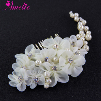 Elegant Engagement Handmade Hair Accessories Pearl Artificial Flower Wedding Bridal Hair Side Comb Girls Headpiece Prom Jewelry