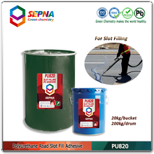 Self leveling seal expansion joint along concrete model PU820