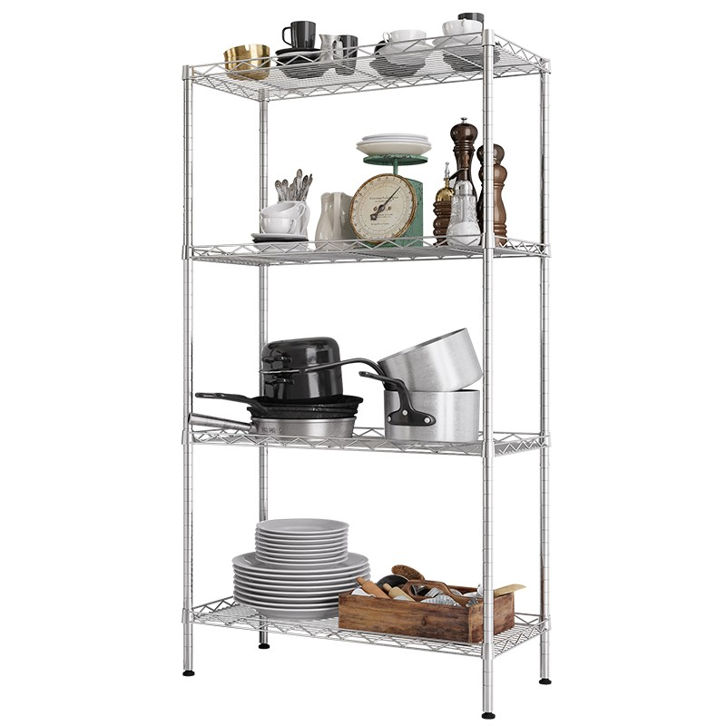 XM_202 steel pipe restaurant storage shelving <strong>rack</strong> in chrome racking