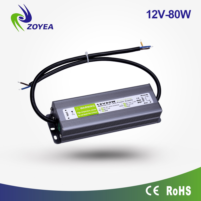 24V 80W waterproofip67 constant voltage 12v led transformer CE and RoHs approved