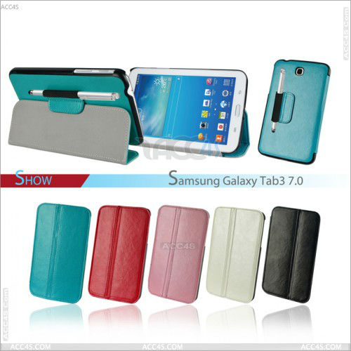 Flip stand leather case with stylus pen for Samsung Galaxy Tab3 7.0