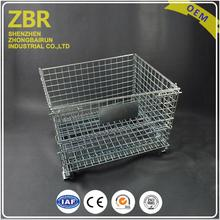 powder coated collapsible storage mesh metal stillage stackable pallet wire cage lock with galvanized sheet