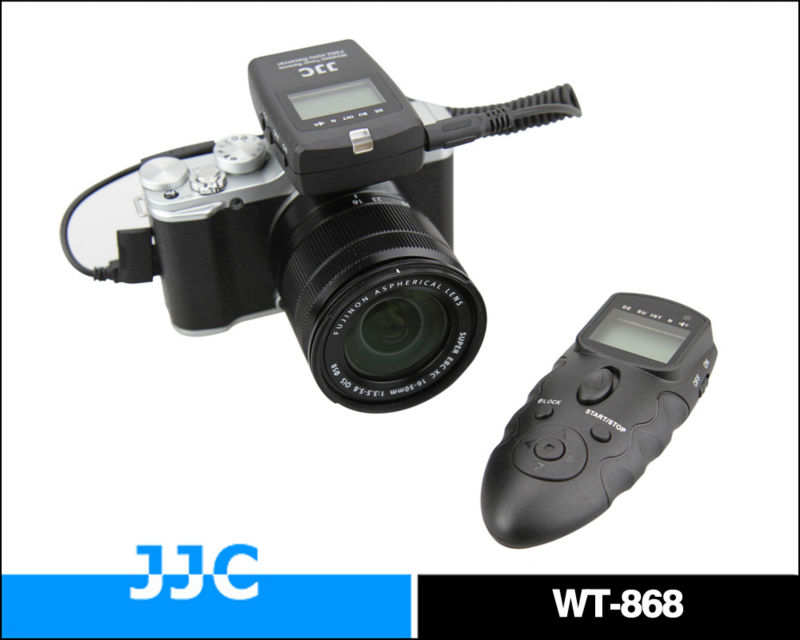 JJC Dual LCD WT-868 2.4G versatile RR-90 wireless timer remote control & wired remote switch For FUJIFILM X-M1/ X-E2/ X-A1/ XQ1