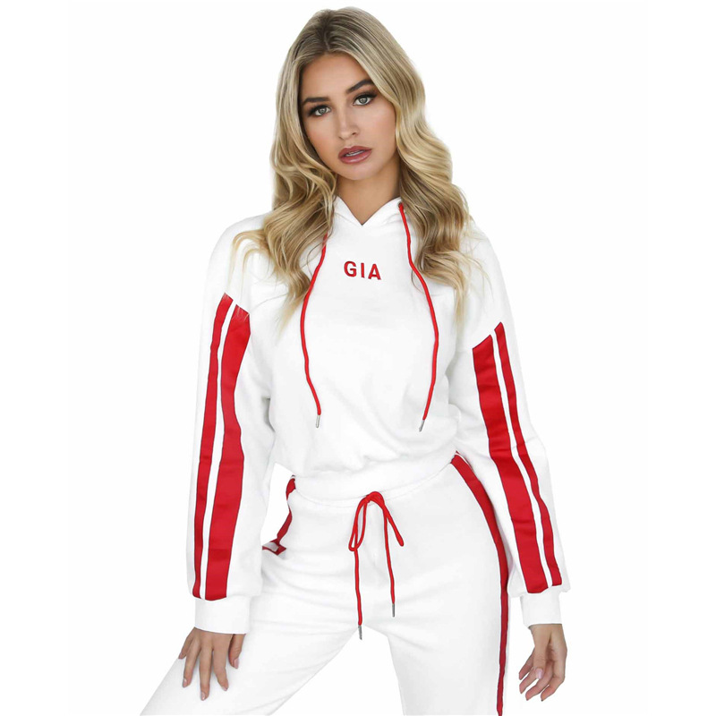 Custom Fashion clothing set 2018 blank Stripe Side hoodies Crop Top Drawstring Long Pants 2PCS Tracksuit For <strong>Women</strong>