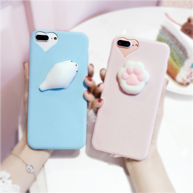 For IPhone 6 6s 6P 7P 7 Cases 3D Soft Silicone Seal Squishy Kneading Soft TPU Phone Case Cover fundas