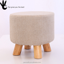Luxury Upholstered four short skid resistance legs wooden mini bar stool