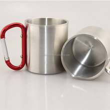 wholesale stainless steel coffee mug with carabiner handle and logo printing