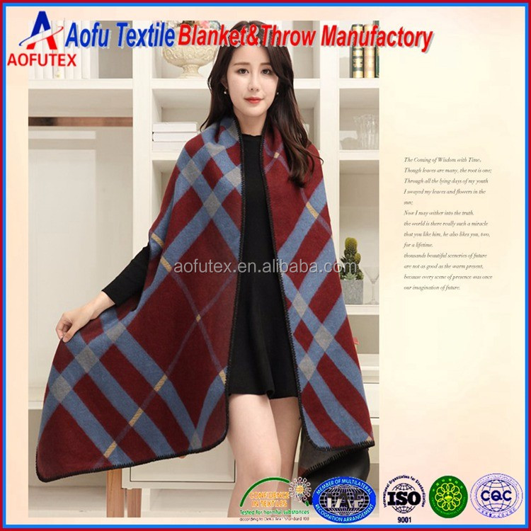 Hot sale latest design kint ladies winter ponchos Blanket with Sleeve Women Plaid Shawl&Scarves