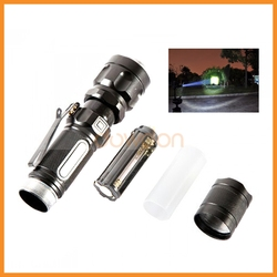 Alloy Shell Zoom In and Out Adjustable Focus T6 Rechargeable Mini Clip Cree Torch