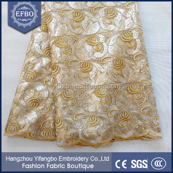 2016 floral embroidered gold wedding dress lace ladies formal dress transparent african mesh lace fabric with sequins