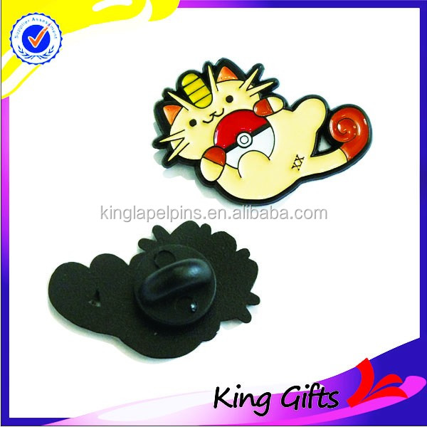Custom cute dyed balck soft enamel pokemon figure badge