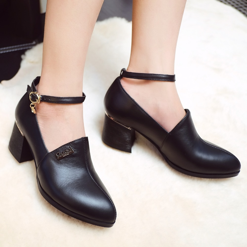 2015 women 5.5cm med heels comfort OL mary janes shoes pointed toe genuine leather women autumn Vintage Sexy Buckle Strap Pumps