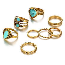 Fashion new design gold finger ring 8PCS one set Wholesale HS-000161