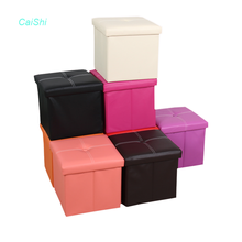 Wholesale modern living room folding leather pvc foot stool ottoman