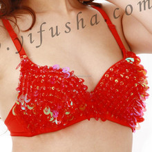 Fashion women belly dance dress,sexy red sequins bra top for belly dance