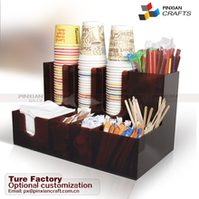 shop fruit juice coffee bar Acrylic sugar cup lids stirrers napins creamers coffee pods tissue boxes shelves coffee cup rack