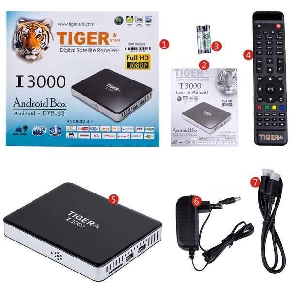 Iptv Set Top Box Tiger I3000 Android Eurostar Digital Satellite Receiver
