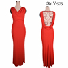 New design red jersey with embroidery detail at back ladies clothing wholesale women evening dresses