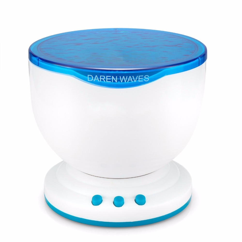 Ocean Night Light Projector with Music Player Blue Sea Daren Waves Projection Aurora Master LED Lamp Mini Portable Speaker