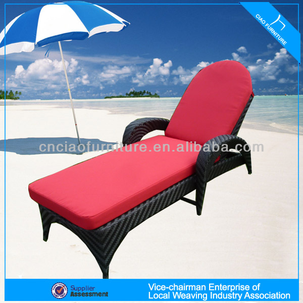 A - beach pe rattan plastic sun lounger high-end weaving pattern 2063L