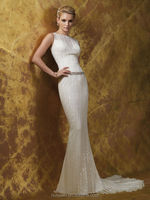 a line round neck sequin crystal beaded wedding dress pattern