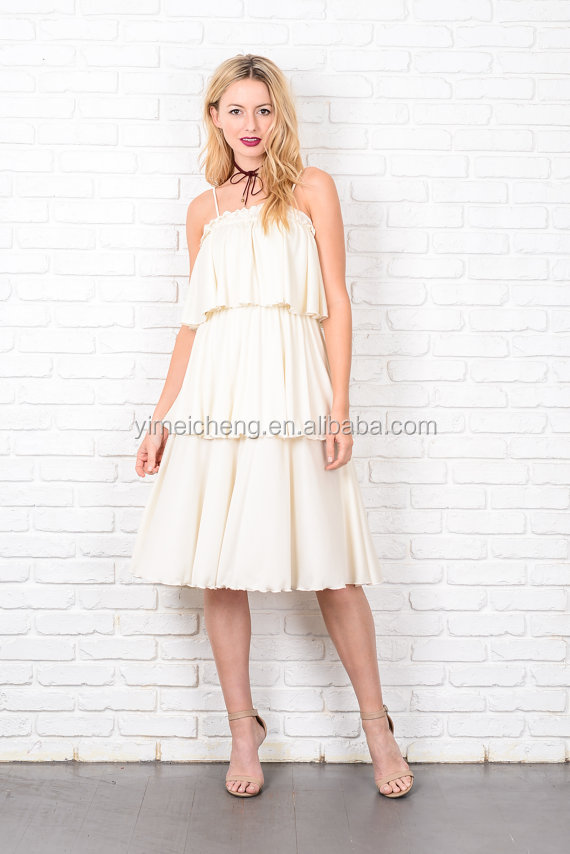 White pleated chiffon women latest design formal evening gown three floor dress