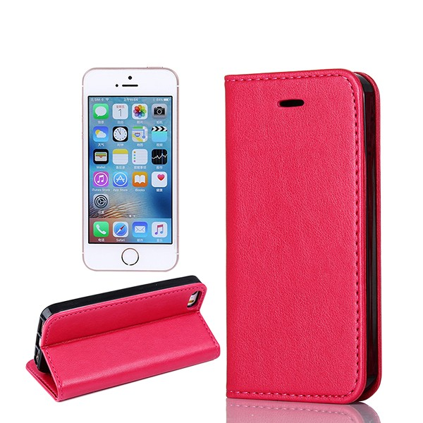 Amazon Hot Sale Sheep Skin Pattern Strong Magnet Stand & Card Slots Flip Book Design Leather Wallet Flip Case for iPhone 5S SE