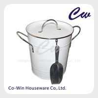 Galvanized Steel Metal Ice Bucket With Plastic Inner Liner And Lid Scoop