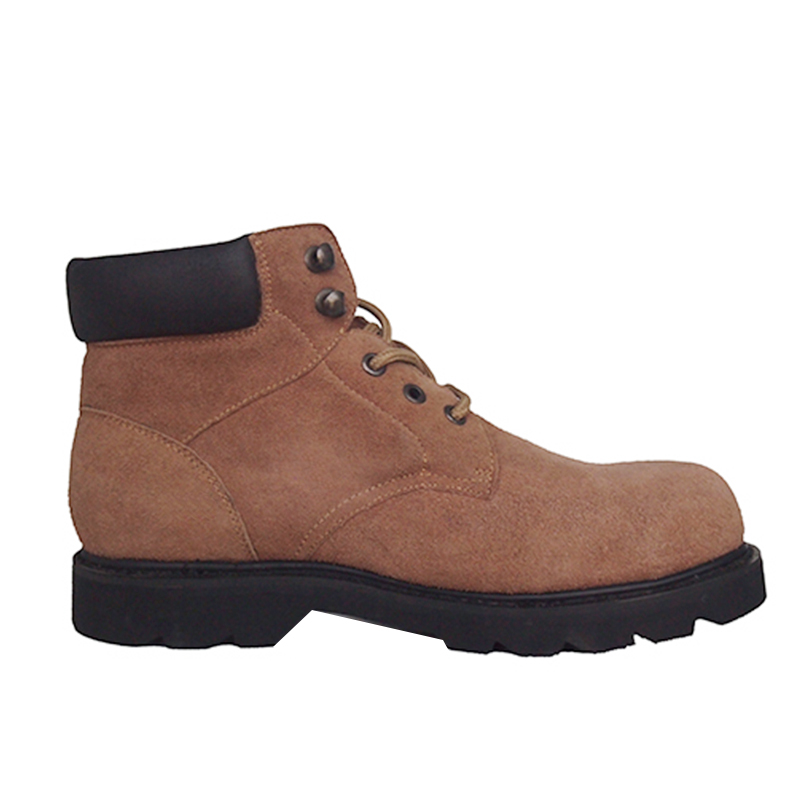 Mid cut steel toe suede leather industrial safety shoes for men