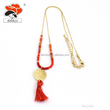 Copper Handmake Fashion Popular Jewelry Red Tassel Beads Golden Circles Necklace