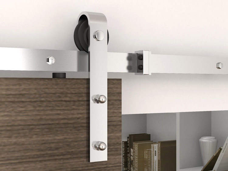 KinMade Modern Antique Style Strap Stainless Steel Barn Door Hardware Sliding System