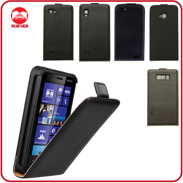 Black Leather Flip Phone Cover Skin Paypal Accepted Case for Nokia Lumia 620