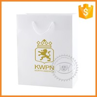 Custom white matt gift paper bags with white handle hot foil stamping