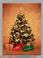 Top selling LED lighted christmas tree picture canvas print wall art