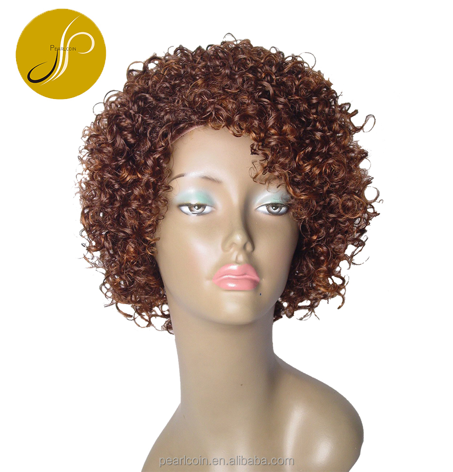 Hot Sale Fashionable Curly Brown 100% Human Hair Lace Wig for girls and women