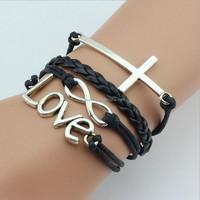 Buy New item 2015 cool jewlry black genuine leather men bracelet ...