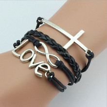 Wholesale leather bracelets, men leather bracelet infinity love cross charms multy layer strand waxed cord leather bracelets